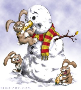 Rabbits Attack Snowman